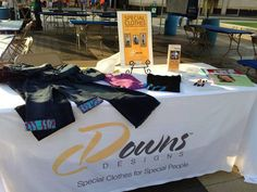 The Downs Designs booth at the 2013 Cleveland Buddy Walk. We understand how difficult it can be to find clothes to fit those with Down syndrome. Downs Designs makes clothing to fit the unique body shape of a person with Down syndrome. Our jeans are soft and comfortable with no buttons or zippers. www.downsdesigns.com