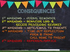 Students should always know the consequences for their behavior from day one. The colors help drive home the seriousness of the infraction.