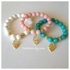 Gorgeous Jade Gemstone beads with Hamsa charm & by itchelita
