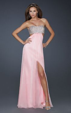 Sexy La Femme16291 Pink Strapless Sparkly Long Homecoming Dress 2013 Online Sale  http://www.uhomecomingdress2013.com/