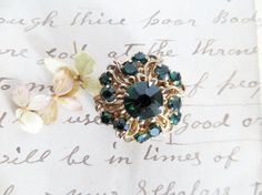 Brooch Emerald Green Gold  Pin Vintage by HerbgirlAndVintage, $18.00