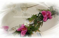 Gesteck orchideen modern tischdeko pinterest - Silberdraht kaufen ...