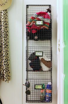Magazine Rack to hold hats/gloves in Mudroom. We don't have a mud room but this would work well on the inside of our hall closet. Front Closet, Hall Closet, Wire Baskets, Closet Organization, Mudroom, Getting Organized, Home Projects, Home Improvement, Sweet Home