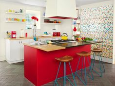 This vibrant candy-colored #kitchen #makeover stands out! #hgtvmagazine http://www.hgtv.com/design/rooms/kitchens/a-vibrant-kitchen-makeover?soc=pinterest