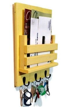 Entryway Mailbox and Key Organizer with Slotted Bin - Painted Version - Renewed Decor & Storage Mail Holder Wall, Mail And Key Holder, Scrap Wood Projects, Diy Pallet Projects, Woodworking Plans, Woodworking Projects, Key Organizer, Home Remodeling Diy, Wood Crafts