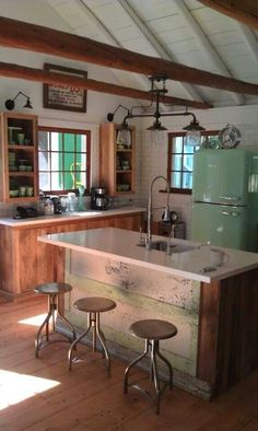 stony lake cottage – this is absolute perfection to me. Vintage touches with a modern-y island? stony lake cottage – this is absolute perfection to me. Retro Home Decor, Home Decor Kitchen, Kitchen Ideas, Kitchen Layout, Vintage Decor, Kitchen Small, Vintage Cabin, Kitchen Interior, Kitchen Island