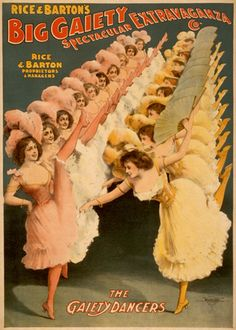 A poster showing the chorus girls of a 1900 extravaganza.