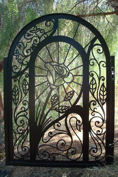 METAL GATE ON SALE GARDEN ORNAMENTAL WROUGHT IRON STEEL ART FABRICATED IN USA This is a gorgeous contemporary design with a lovely rose and swan. A perfect gate for an entry way to a home. This is a great opportunity to purchase a gorgeous handcrafted designer gate at an excellent factory-direct price.