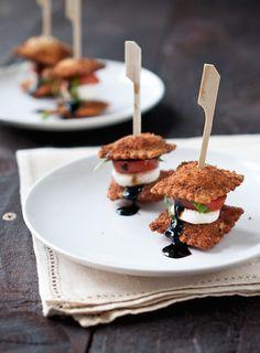 #Party Appetizer #Recipe: Fried Ravioli Caprese Stacks