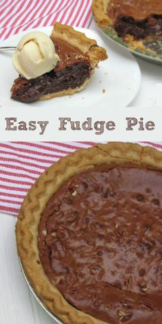 Super Easy Fudge Pie Recipe that is made made in minutes. Chocolate pie recipe for any time of year. #dessert #chocolate