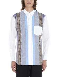 Comme Des GarÇons Shirt Striped Patchwork Shirt In Blue Comme Des Garçons Shirt, Comme Des Garcons, Mother Of Pearl Buttons, Poplin, Model, How To Wear, Blue, Shirts, Shopping