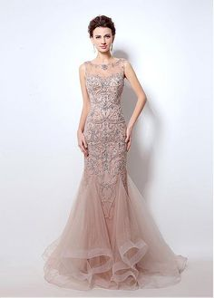 Buy discount In Stock Elegant Tulle Bateau Neckline Mermaid Formal Dress with Beadings at Dressilyme.com