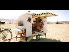 Bicycle camper trailer for Burningman - YouTube