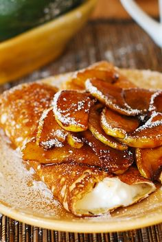 Healthier desserts: Crepes and caramelized pears, with low-fat creamy ricotta cheese filling