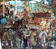 """Diego Rivera  """" la conquista española de la Nación Azteca"""" Mural Palacio Nacional. Mexico City."""