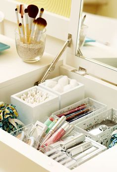 Wipe down your makeup drawer and toss old/expired products.