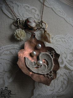 Cream and Copper Vintage Assemblage Necklace with Antique Cameo, Vintage Lace…