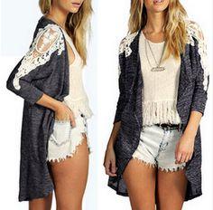Elegant Lace Patch Irregular Thin Cardigan