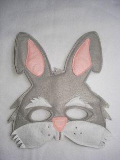 Children's Grey RABBIT Felt Mask by magicalattic on Etsy, $12.50