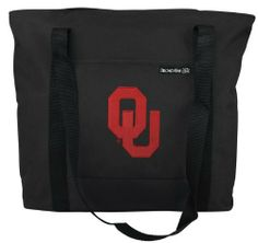 University of Oklahoma Tote Bag OU Logo - For Travel or Beach Gift Ideas for Man Men Him Her Women Ladies or College Fans Students OFFICIAL NCAA MERCHANDISE by Broad Bay. $19.99. Double Zipper Closure. Super Strong 600 Denier Nylon. Reinforced Base. Best Unique Valentine Gift Ideas. Exterior Pocket. Lined. What better way to show your college spirit than with our top-selling University of Oklahoma tote bag! Features include a double top-zip closure, an exterior slip po...