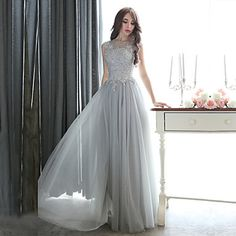 Formal Evening / Black Tie Gala Dress Sheath / Column Bateau Floor-length Tulle with Appliques / Beading – USD $ 99.99