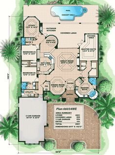 Distinctive Villa House Plan - 66034WE   1st Floor Master Suite, CAD Available, Corner Lot, Den-Office-Library-Study, Florida, MBR Sitting Area, Mediterranean, PDF, Split Bedrooms   Architectural Designs