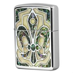 Armor Zippo Lighter Natural White Shell Inlay Lily Arabesque Both Sides Desing Japan