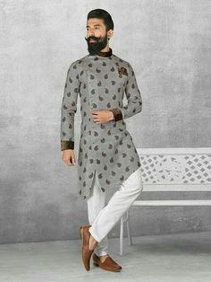Linen fabric grey color kurta pajama mens kurta designs in 2 Mens Indian Wear, Mens Ethnic Wear, Indian Groom Wear, Indian Men Fashion, Mens Fashion Suits, Gents Fashion, Mens Fashion Blog, Indian Ethnic Wear, Wedding Kurta For Men