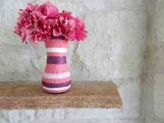 Striped Pink Vase / pink  and plum home decor / handcrafted vase / made to order. $24.00, via Etsy. #home #homedecor #art #handmade