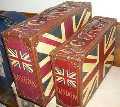 Union Jack suitcases- sweet!