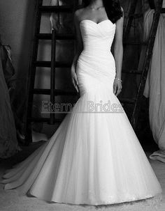 Elegant Simple Sweetheart Neckline Ruched Bodices Tulle Mermaid Wedding Dress/ Tulle Wedding Gown/ Tulle Dress
