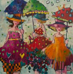 Angela Morgan is an oil on canvas artist represented by the Shayne Gallery. Rain Painting, Woman Painting, Illustrations, Illustration Art, Dancing In The Rain, Canadian Artists, Whimsical Art, Watercolor Art, Canvas Art