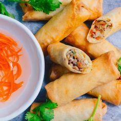 Thai Spring Rolls – Marion's Kitchen Pork Spring Rolls, Thai Spring Rolls, Chicken Spring Rolls, Summer Rolls, Italian Appetizers, Appetizer Recipes, Pork Recipes, Asian Recipes, Thai Recipes