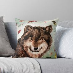 'Cony's wolf' Throw Pillow by Dominique Gwerder Designer Throw Pillows, Pillow Design, My Design, Wolf, Vibrant, It Is Finished, Prints, Painting, Art