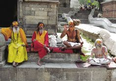 Holy Hindu men at Pashupatinath in Kathmandu