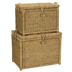HouseHold Home Indoor Large Seagrass Chest with woven button (Set of 2) 1Lg.
