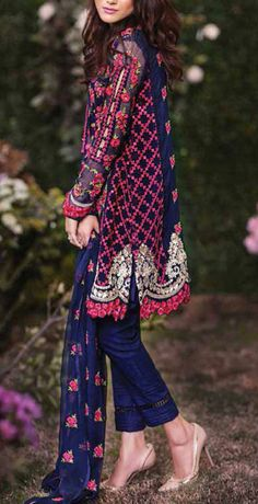 Buy Navy Blue Embroidered Chiffon Dress by Mina Hasan Sindhi balochi thread embroidery Estilo Hippie Chic, Hippy Chic, Indian Attire, Indian Wear, Pakistani Outfits, Indian Outfits, Patiala, Salwar Kameez, Casual Dresses