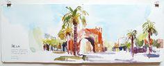 Urban Sketchers Paris: Cinq continents pour un SketchCrawl à Barcelone.