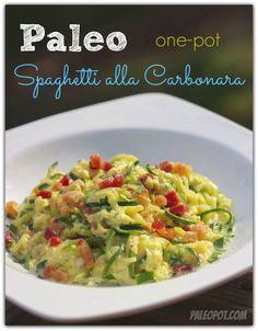 Easy One-Pot Paleo Spaghetti alla Carbonara Recipe with Zucchini Noodles Paleo Spaghetti, Paleo Pasta, Courge Spaghetti, Zucchini Spaghetti, Primal Recipes, Whole Food Recipes, Cooking Recipes, Healthy Recipes, Paleo Meals