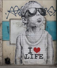 I love life by Γκάελ   Athens, Greece street art