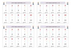 Un jeu de loto pour apprendre et mémoriser les tables d'addition de 1 à 10. Table Addition, Maths, Sheet Music, Tables, Children, Gaming, Mesas