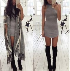 dress grey sweater grey mini dress bodycon dress tight summer dress summer cute cute dress winter outfits fall outfits fashion style