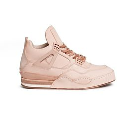 Hender Scheme 'Manual Industrial Products 10' leather high top... ($1,085) ❤ liked on Polyvore featuring shoes, sneakers, neutral, leather hi tops, high top trainers, leather sneakers, genuine leather shoes and real leather shoes