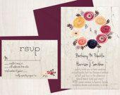 Printable Floral Rustic Wedding Invitation and RSVP-Print Yourself-Digital File