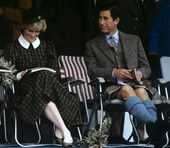 September 4, 1982: Prince Charles & Princess Diana seated in the Royal Pavilion at the Braemer Games, Scotland.