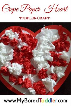 With Valentine's Day not too far away I thought we would get a head start on some simple toddler Valentine's day craft ideas. This fun activity is very simple requiring only crepe paper, glue and paper. Too easy! It was so simple that I left my husband in charge of this one and it still turned out well! As simple as this activity is, it actually involves some great fine motor activities which are perfect for toddlers. Ripping, scrunching and gluing area all excellent fine motor activities…