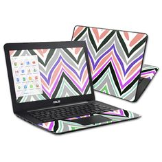"""The Colorful Chevron Laptop skin design for your ASUS Chromebook 13.3"""" is the perfect image to give your device that unique look and style. For that added touch, you will get a free wallpaper to complete the look of your Laptop that is fully compatible with your ASUS Chromebook 13.3""""."""