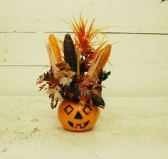 vintage 1960s PUMPKIN SCARECROW corn cob holiday floral arrangement spooky Halloween Thanksgiving decor retro on Etsy, $28.00