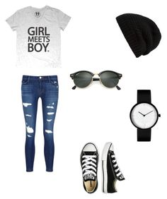 """""""Untitled #1438"""" by esma178 ❤ liked on Polyvore featuring J Brand, Converse, Rick Owens and Ray-Ban"""