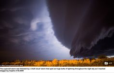 The supercell storm was followed by a 'shelf cloud' storm that spat out huge bolts of lightning throughout the night sky as it reached staggering heights of 60,000ft Read more: http://www.dailymail.co.uk/news/article-3168133/Incredible-video-captures-moment-huge-net-lightning-60-000ft-high-cloud-shelf-fills-skies-Nebraska-massive-supercell-storm.html#ixzz3gRKnz0uO Follow us: @MailOnline on Twitter | DailyMail on Facebook